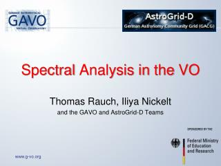 Spectral  Analysis in  the  VO