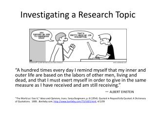 Investigating a Research Topic