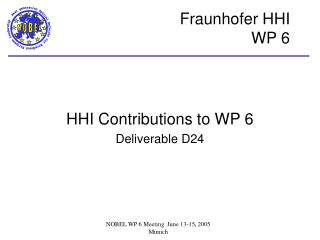 HHI Contributions to WP 6 Deliverable D24