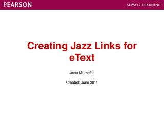 Creating Jazz Links for eText