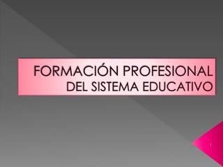 FORMACIÓN PROFESIONAL DEL SISTEMA EDUCATIVO