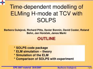 Time-dependent modelling of ELMing H-mode at TCV with SOLPS