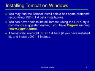 Installing Tomcat on Windows