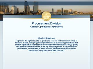 Procurement Division Central Operations Department