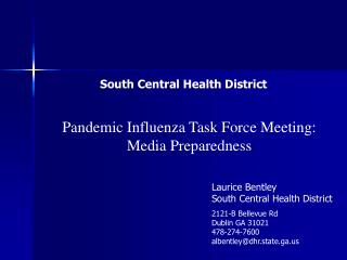 Pandemic Influenza Task Force Meeting: Media Preparedness