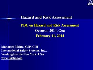 PDC on Hazard and Risk Assessment Occucon 2014
