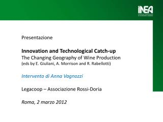 Presentazione  Innovation  and  Technological  Catch-up