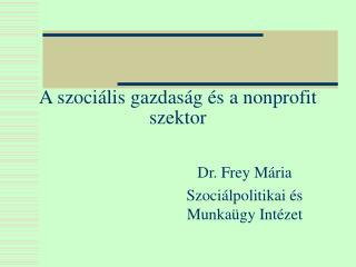 A szociális gazdaság és a nonprofit szektor