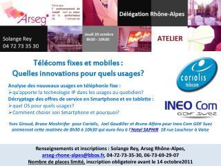 Télécoms fixes et mobiles :  Quelles innovations pour quels usages ?