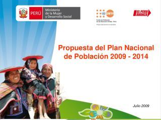 Propuesta del Plan Nacional de Población 2009 - 2014