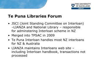Te Puna Libraries Forum