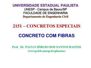 2151 – CONCRETOS ESPECIAIS CONCRETO COM FIBRAS Prof.  Dr. PAULO SÉRGIO DOS SANTOS BASTOS