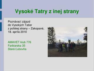 Vysoké Tatry z inej strany