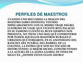 PERFILES DE MAESTROS