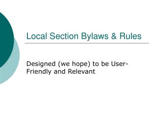 Local Section Bylaws & Rules