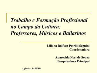 Trabalho e Formação Profissional no Campo da Cultura:  Professores, Músicos e Bailarinos
