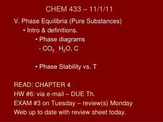 CHEM 433 � 11/1/11