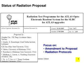 Status of Radiation Proposal