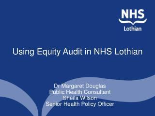 Using Equity Audit in NHS Lothian