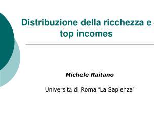 Distribuzione della ricchezza e top incomes