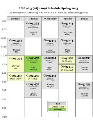 SIS Lab 3 (AQ 2109) Schedule Spring 2013