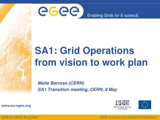 SA1: Grid Operations from vision to work plan