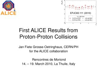 First ALICE Results from  Proton-Proton Collisions