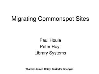 Migrating Commonspot Sites