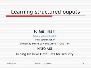 Learning structured ouputs