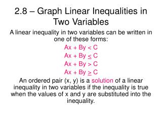 2.8 � Graph Linear Inequalities in Two Variables