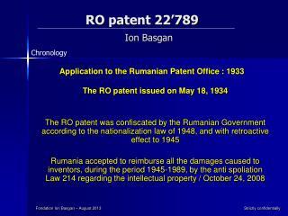 RO  patent 22�789