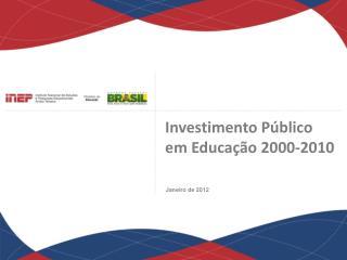 Investimento Público  em Educação 2000-2010