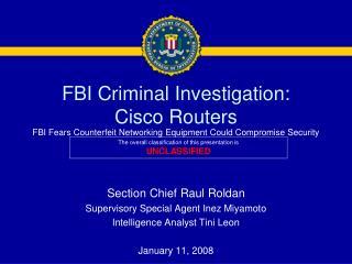 FBI Criminal Investigation: Cisco Routers
