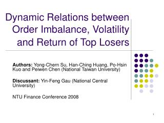 Dynamic Relations between Order Imbalance, Volatility  and Return of Top Losers