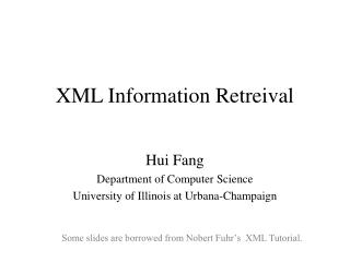 XML Information Retreival