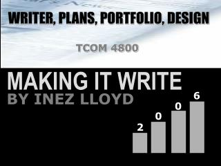 WRITER, PLANS, PORTFOLIO, DESIGN