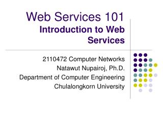 Web Services 101 Introduction to Web Services