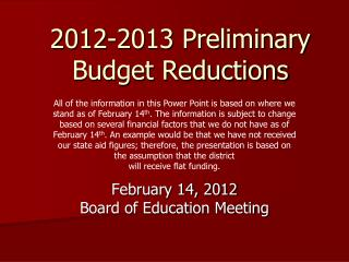 2012-2013 Preliminary Budget Reductions