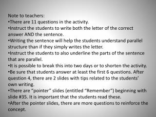 Note to teachers:  There are 11 questions in the activity.