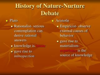 History of Nature-Nurture Debate