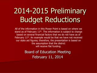 2014-2015 Preliminary Budget Reductions