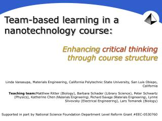 Team-based learning in a nanotechnology course: