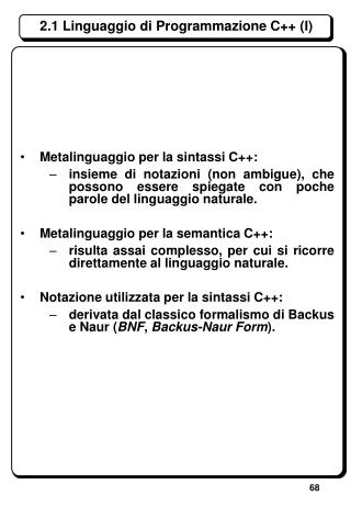2.1 Linguaggio di Programmazione C++ (I)