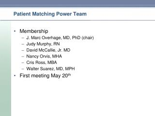 Patient Matching Power Team
