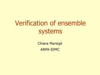 Verification of ensemble systems
