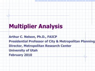 Multiplier Analysis