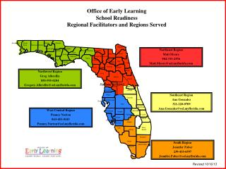 Office of Early Learning School Readiness Regional Facilitators and Regions Served