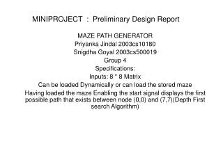 MINIPROJECT  :  Preliminary Design Report