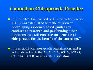 Council on Chiropractic Practice