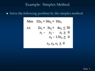 Example:  Simplex Method